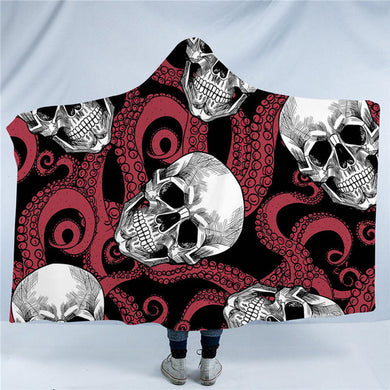 Octo Skull - Red Tentacles - Hooded Blanket - 2 sizes - My Diva Baby
