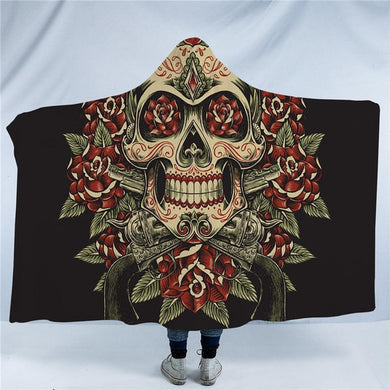 Vintage Red & Green Floral Skull Hooded Blanket - 2 sizes - My Diva Baby