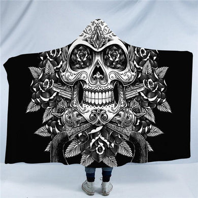 Vintage Black & White Floral Skull Hooded Blanket - 2 sizes - My Diva Baby