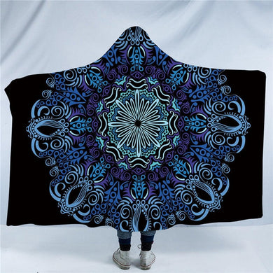 Blue and Purple Bohemian Mandala Hooded Blanket - 2 sizes - My Diva Baby