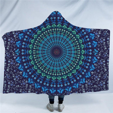 Blue Floral Mandala Hooded Blanket - 2 sizes - My Diva Baby