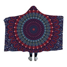 Dark Blue & Red Floral Mandala Hooded Blanket - 2 sizes - My Diva Baby