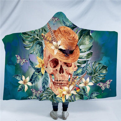 Floral Skull With Hat Hooded Blanket - 2 sizes - My Diva Baby