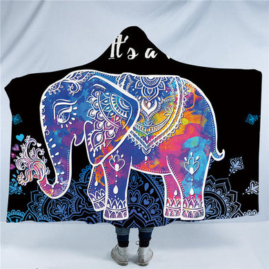 Purple Mandala Elephant Hooded Blanket - 2 sizes - My Diva Baby