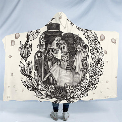 Vintage Sugar Skull Wedding Couple Hooded Blanket - 2 sizes - My Diva Baby