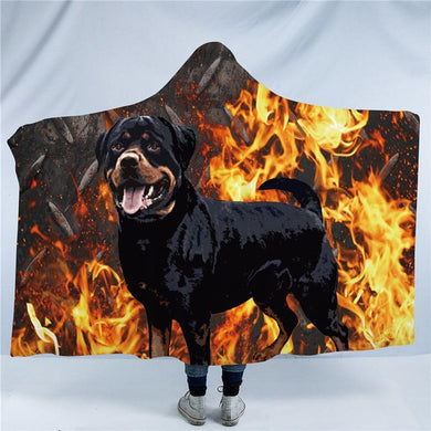 Rottweiler Hooded Blanket - 2 sizes - My Diva Baby