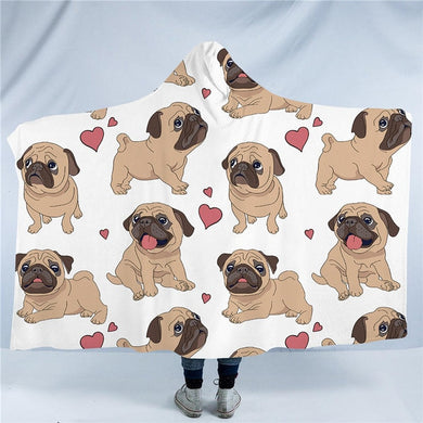 Fawn Pug Hooded Blanket - 2 sizes - My Diva Baby