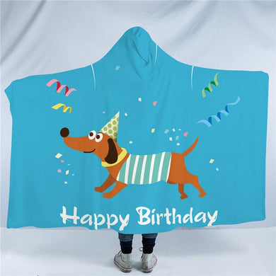 Party Dachshund Hooded Blanket - 2 sizes - My Diva Baby