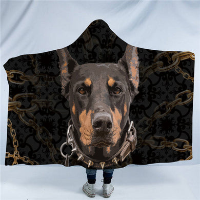 Doberman Hooded Blanket - 2 sizes - My Diva Baby