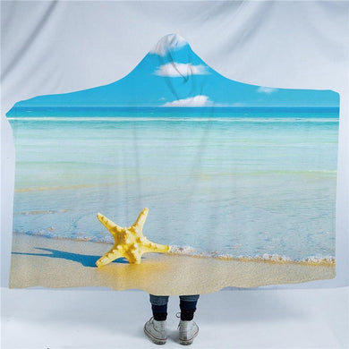 Beach Starfish Hooded Blanket - 2 sizes - My Diva Baby