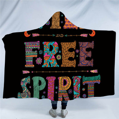 Wild Free Spirit - Black - Hooded Blanket - 2 sizes - My Diva Baby