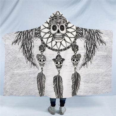 Dia De Los Muertos - Retro Sugar Skull Hooded Blanket - 2 sizes - My Diva Baby