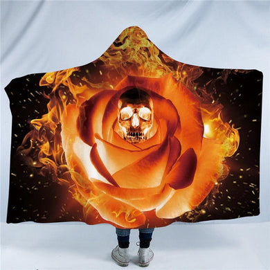 Flaming Rose Skull Hooded Blanket - 2 sizes - My Diva Baby