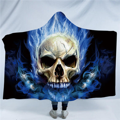 Blue Flame Skull Hooded Blanket - 2 sizes - My Diva Baby