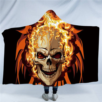 Flaming Skull Hooded Blanket - 2 sizes - My Diva Baby