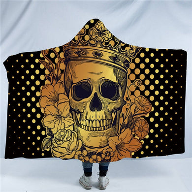 Golden Crowned Skull Hooded Blanket - 2 sizes - My Diva Baby
