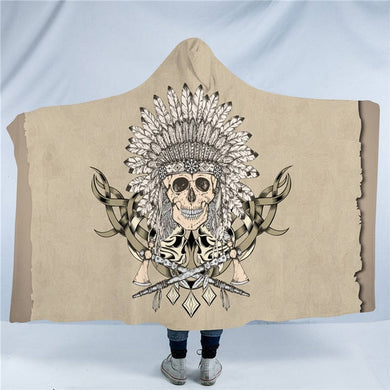 Indian Chief Skull Hooded Blanket - 2 sizes - My Diva Baby