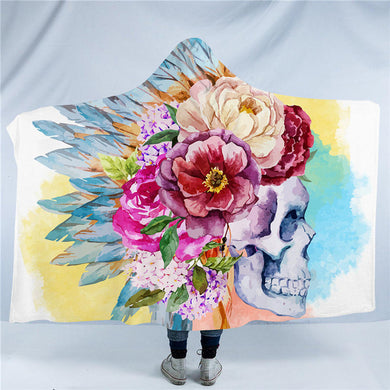 Watercolour Skull Hooded Blanket - 2 sizes - My Diva Baby