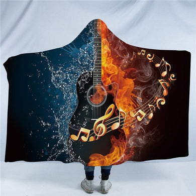 Fire & Water Country Guitar Hooded Blanket - 2 sizes - My Diva Baby