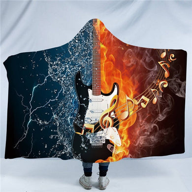 Fire & Water Bass Guitar Hooded Blanket - 2 sizes - My Diva Baby