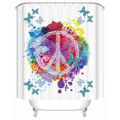 Watercolour Peace & Butterflies Shower Curtain - Waterproof - My Diva Baby