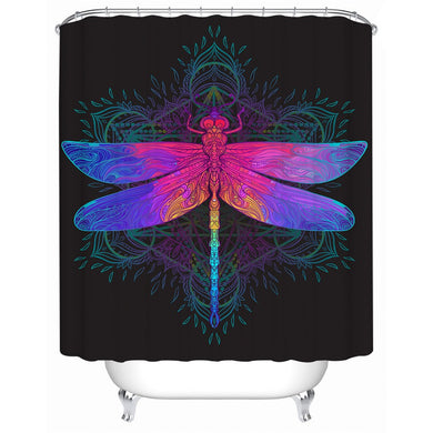 Dragonfly Mandala Shower Curtain - Waterproof - My Diva Baby