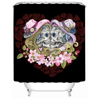 Vintage Sugar Skull Couple - Black - Shower Curtain - Waterproof - My Diva Baby