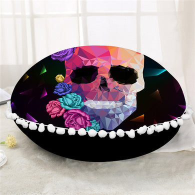 Crystal Skull Round Pillow Case/Cushion Cover