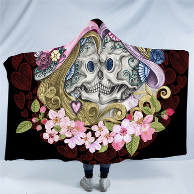 Vintage Sugar Skull Couple - Black - Hooded Blanket - 2 sizes - My Diva Baby