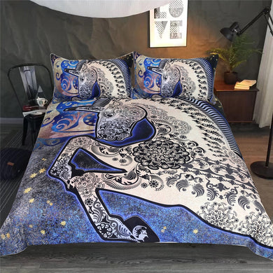 Blue Mandala Unicorn Doona Cover 3pc set