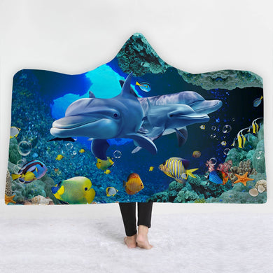 Dolphin Cove Hooded Blanket - 2 sizes