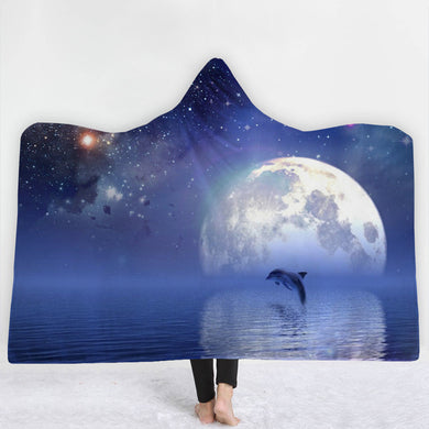 Moonlit Dolphin Hooded Blanket - 2 sizes