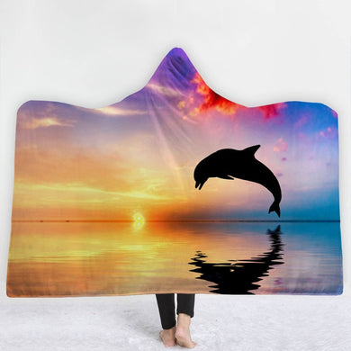 Sunset Dolphin Hooded Blanket - 2 sizes - My Diva Baby