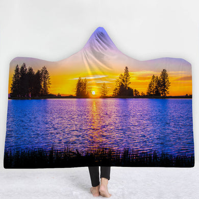 Sunset Lake Hooded Blanket - 2 sizes - My Diva Baby