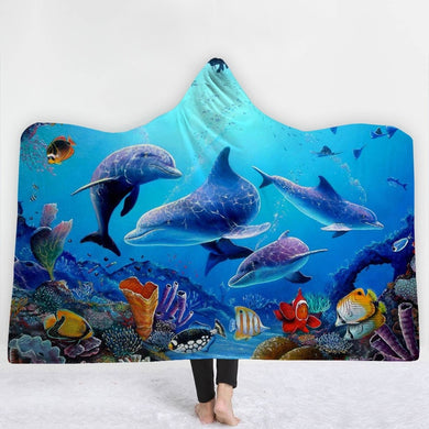 Dolphin Reef Hooded Blanket - 2 sizes - My Diva Baby