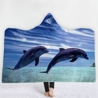 Leaping Dolphins Hooded Blanket - 2 sizes - My Diva Baby