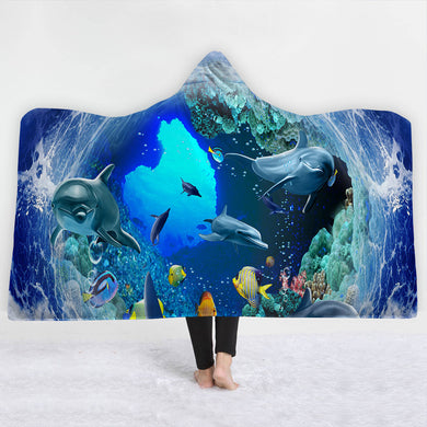 Dolphin Tunnel Hooded Blanket - 2 sizes