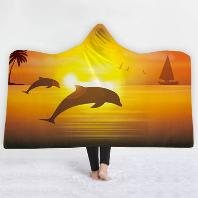 Sunset Dolphins Hooded Blanket - 2 sizes - My Diva Baby