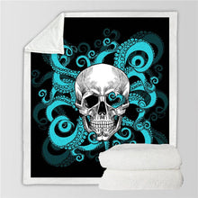 Octo Skull - Blue Tentacles - Sherpa Throw Blanket - 4 sizes