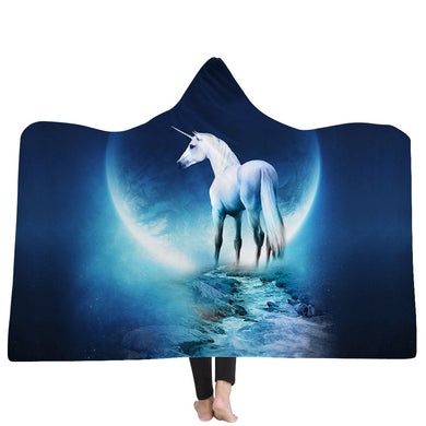 Blue Moon Unicorn Hooded Blanket - 2 sizes - My Diva Baby