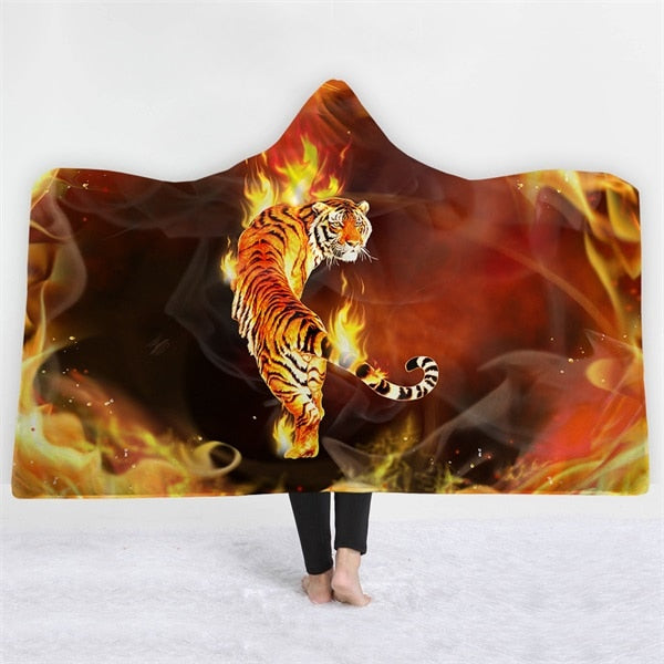 Flaming Tiger Hooded Blanket - 2 sizes