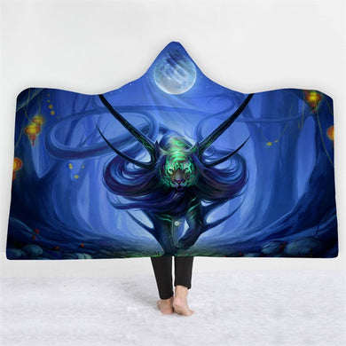 Mythical Tiger - Blue - Hooded Blanket - 2 sizes