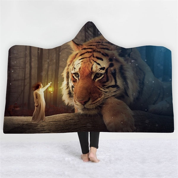 A Tigers Dream Hooded Blanket - 2 sizes - My Diva Baby