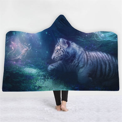 Enchanted White Tiger Cub Hooded Blanket - 2 sizes
