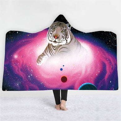White Galaxy Tiger Hooded Blanket - 2 sizes