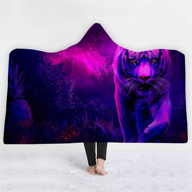 Purple Haze White Tiger Hooded Blanket - 2 sizes - My Diva Baby