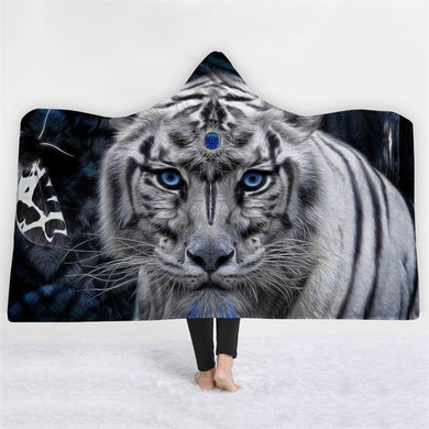 Jewelled White Tiger Hooded Blanket - 2 sizes