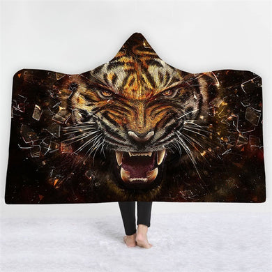 Tiger Breakout Hooded Blanket - 2 sizes - My Diva Baby