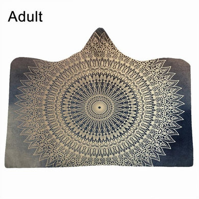 Gold Mandala Hooded Blanket - 2 sizes