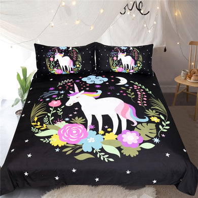 Floral Wreath Unicorn Doona Cover 3pcs set
